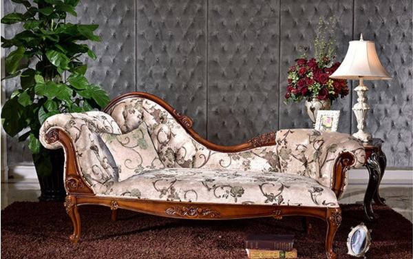 美式古典实木手工雕花左贵妃沙发价格