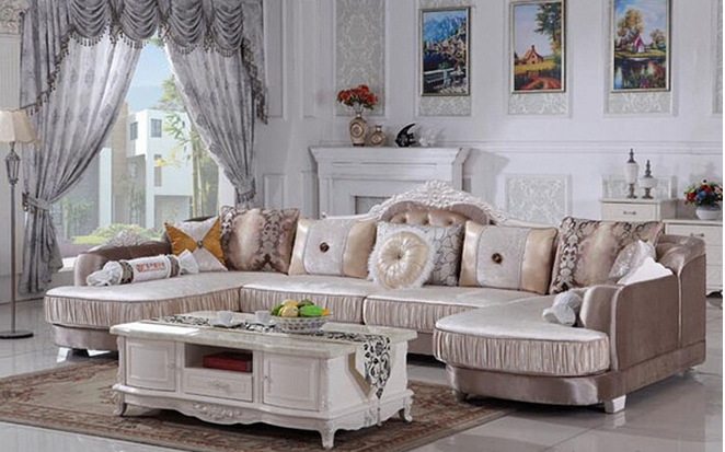 欧式布艺转角沙发图片
