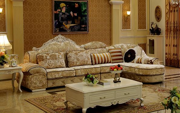 欧式布艺沙发组合简约美式实木沙发
