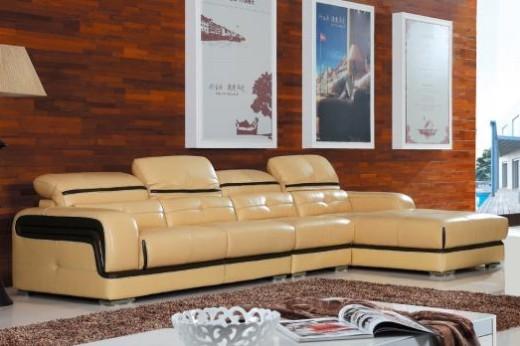 共枕真皮软座沙发 黄牛头层真皮组合沙发