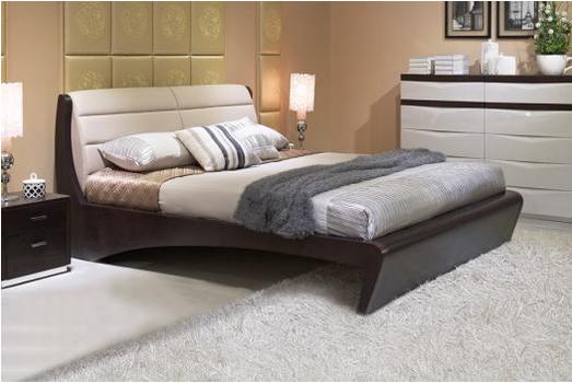 共枕现代时尚优质超纤皮质软靠双人床 共枕真皮1.5米床