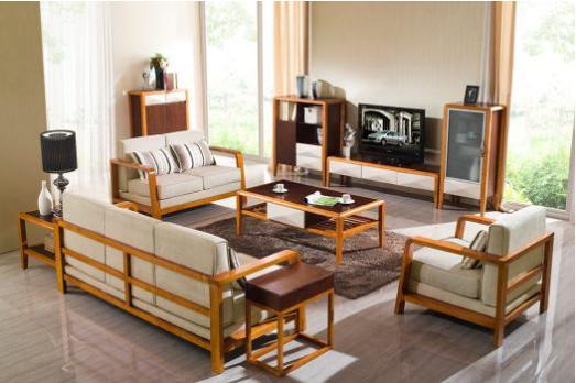 时尚新中式客厅高档进口橡胶木实木布艺沙发 1+2+3组合沙发