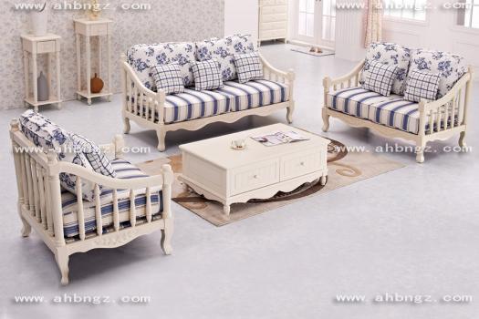 清雅自然韩式风格茉莉白组合高档实木框架沙发 1+2+3沙发