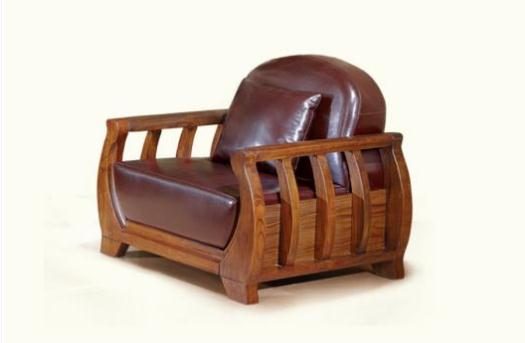 现代中式乌金木色真皮沙发 单人沙发